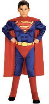 Boy's Deluxe Muscle Chest Superman Costume - Child Large