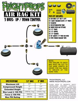 "Air Bag Kit:  2.5"" Lift -  3 Bags  - UP:DOWN Motion"