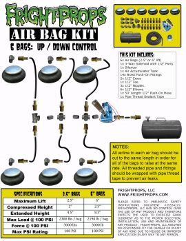 "Air Bag Kit:  2.5"" Lift -  6 Bags  - UP:DOWN Motion"