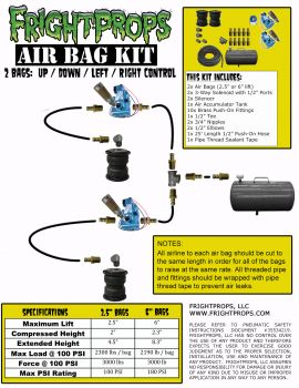 "Air Bag Kit:  6"" Lift -  2 Bags  - UP:DOWN:LEFT:RIGHT Motion"