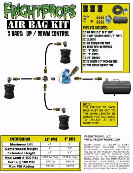"Air Bag Kit:  6"" Lift -  3 Bags  - UP:DOWN Motion"