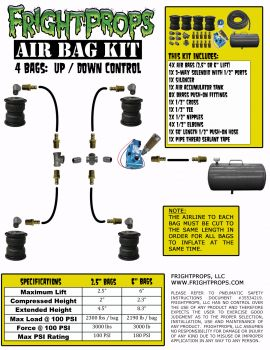 "Air Bag Kit:  6"" Lift -  4 Bags  - UP:DOWN Motion"