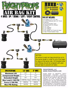 "Air Bag Kit:  6"" Lift -  4 Bags  - UP:DOWN:LEFT:RIGHT Motion"