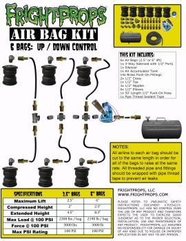 "Air Bag Kit:  6"" Lift -  6 Bags  - UP:DOWN Motion"