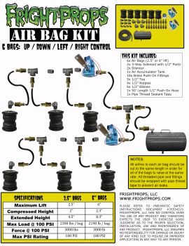 "Air Bag Kit:  6"" Lift -  6 Bags  - UP:DOWN:LEFT:RIGHT Motion"