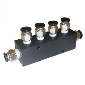 """Aluminum Block Manifold with Fittings for 1/4"""" Airline - 5 Ports"""