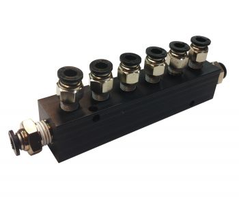 """Aluminum Block Manifold with Fittings for 1/4"""" Airline - 7 Ports"""