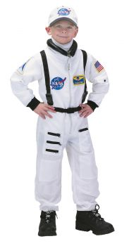 Boy's Astronaut Costume - White - Child M (6 - 8)