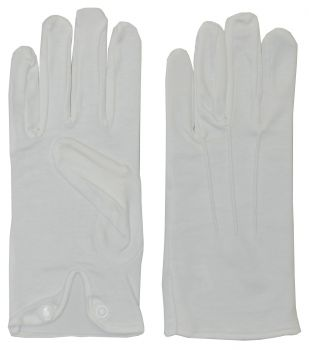 White Cotton Gloves With Snap - Adult Large