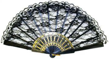 """9"""" Lace Fan - Black"""