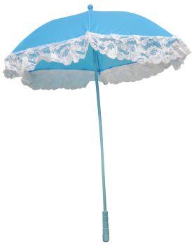 "25"" Nylon Parasol With Ruffle - Blue"