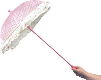 "33"" Lace Parasol With Ruffle - Pink"