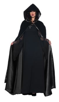 "63"" Deluxe Velvet & Satin Cape - Black"