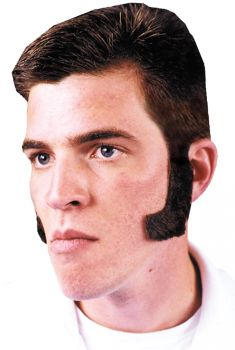 Sideburns Black Human Hair