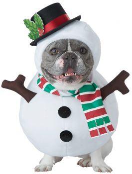 Snowman Dog Costume - Pet Medium
