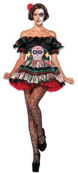 Women's Day Of Dead Doll Costume - Adult M/L