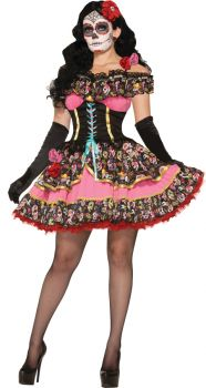 Women's Day Of Dead Senorita Costume - Adult M/L (8 - 12)