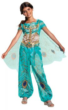 Girl's Jasmine Teal Classic Costume - Aladdin Live Action - Child M (7 - 8)