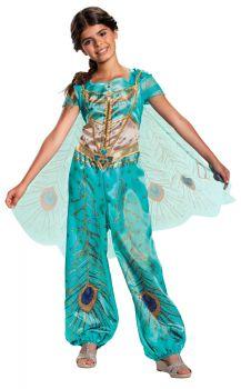 Girl's Jasmine Teal Classic Costume - Aladdin Live Action - Child M (7 - 8)