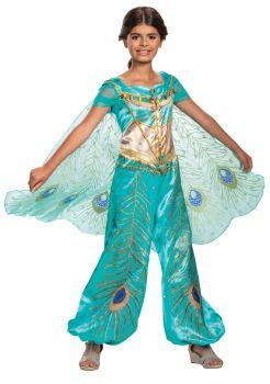Girl's Jasmine Teal Deluxe Costume - Aladdin Live Action - Child S (4 - 6X)