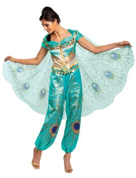 Women's Jasmine Teal Deluxe Costume - Aladdin Live Action - Adult S (4 - 6)