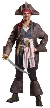 Men's Captain Jack Deluxe Costume - Pirates Of The Caribbean 5 - Adult 2X (50 - 52)