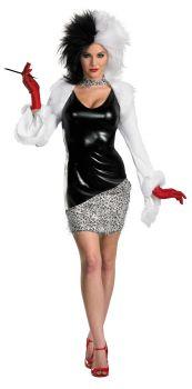 Women's Sassy Cruella Deluxe Costume - 101 Dalmatians - Adult M (8 - 10)