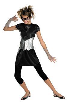 Girl's Black Suited Spider-Girl Costume - Child L (10 - 12)