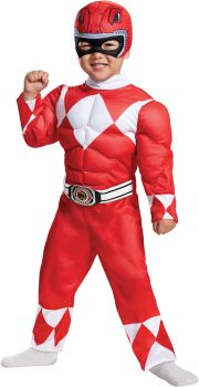 Red Power Ranger Muscle Costume - Mighty Morphin - Toddler (3 - 4T)