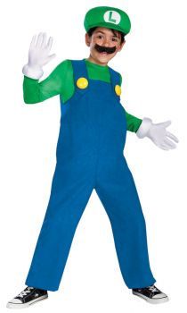 Boy's Luigi Deluxe Costume - Super Mario Brothers - Child S (4 - 6)
