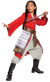 Girl's Mulan Hero Red Dress Deluxe Costume