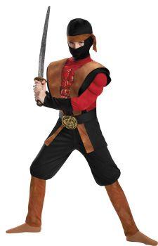 Boy's Ninja Warrior Muscle Costume - Child L (10 - 12)