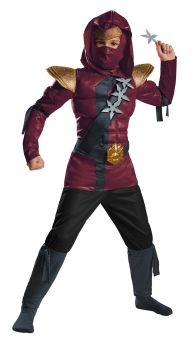Boy's Red Fire Ninja Muscle Costume - Child M (7 - 8)