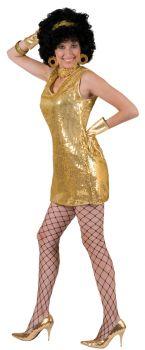 Women's Disco Dress - Gold - Adult M (10 - 12)