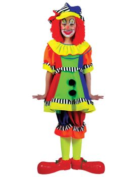 Girl's Spanky Stripes Clown Costume - Child M (8 - 10)