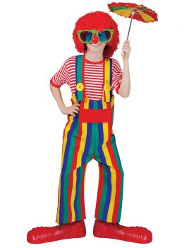 Striped Clown Overalls - Child M (8 - 10)