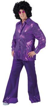 Men's Disco Pants - Purple - Adult Large