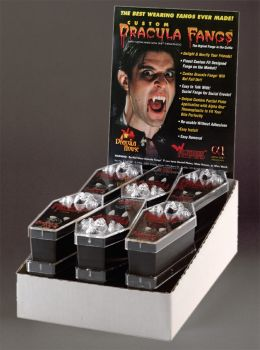 Dracula Fangs Display - 12 Pairs - Large