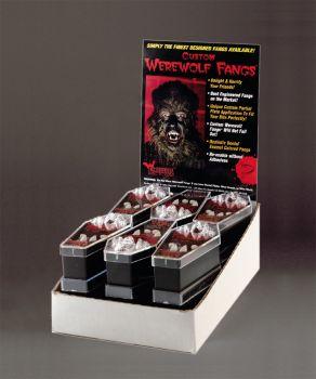 Werewolf Fangs Display - 12 Pairs - Medium