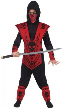 Red & Black Skull Ninja Child Costume - Child M (8 - 10)