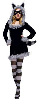 Women's Racy Raccoon Costume - Adult S/M (2 - 8)