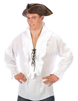 Pirate Shirt Fancy - White - Adult OSFM