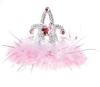 Tiara Marabou Heart - Pink