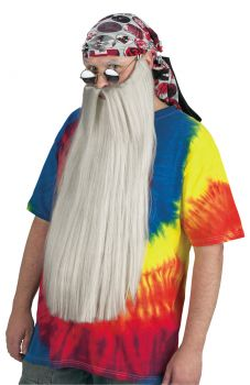 "24"" Long Beard With Mustache - Gray"