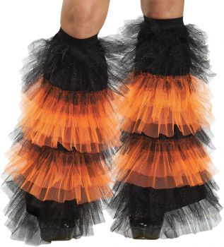Boot Covers Tulle Ruffle - Black/Orangege