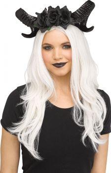 Black Horn & Flowers Headpiece - Adult