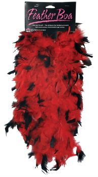 5' Feather Boa - Black/Red