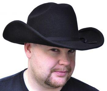 """Cowboy Hat Black Felt - Hat Size S (21 3/8"""" C)"""