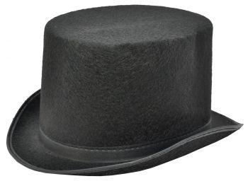 """Top Hat Black Felt - Hat Size L (23"""" C)"""