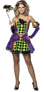 Women's Mardi Gras Queen Costume - Adult L/XL